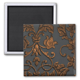 Embossed Metallic Look Damask, Copper 2 Inch Square Magnet