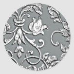 Embossed Metallic Look Damask Silver Classic Round Sticker