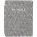 Embossed Metallic Look Gray Personalized Name ipad iPad Cover