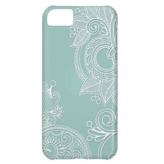 Embossed Mint Paisley Cover For iPhone 5C