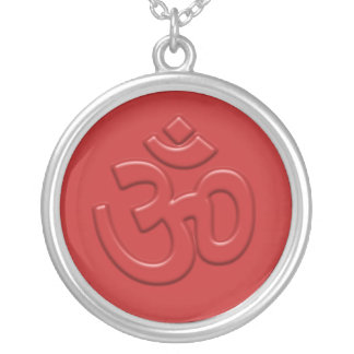 Embossed Om Sign Round Pendant Necklace