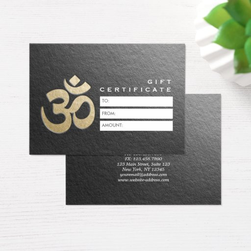 Embossed OM Sign YOGA Instructor Gift Certificate