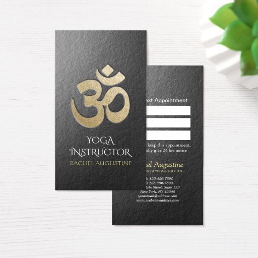 Embossed OM Symbol YOGA Instructor Appointment Business Card