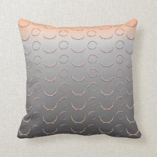 Embossed Open Circles Art Deco Silver Peach Orange Pillow