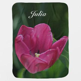 Embossed Pink Tulip Baby Blanket
