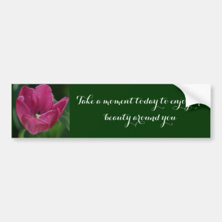 Embossed Pink Tulip Bumper Sticker