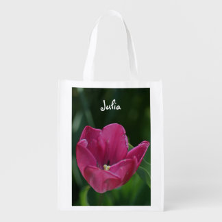 Embossed Pink Tulip Personalized Reusable Bag