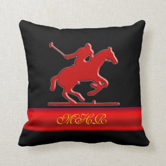Embossed Polo Player, Monogram, red chrome-look Throw Pillows