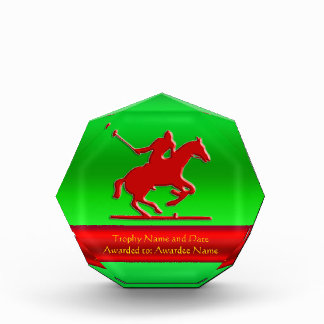 Embossed Polo Pony and Rider, red chrome-look Award
