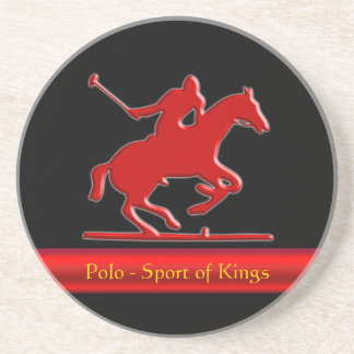 Embossed Polo Pony and Rider, red chrome-look Coaster
