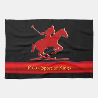 Embossed Polo Pony and Rider, red chrome-look Hand Towels