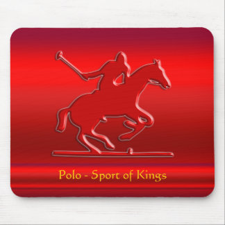 Embossed Polo Pony and Rider, red chrome-look Mouse Pad