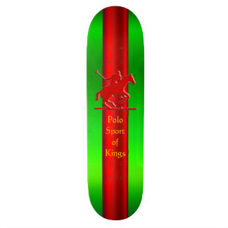 Embossed Polo Pony and Rider, red chrome-look Skateboard