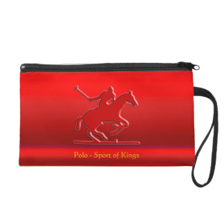 Embossed Polo Pony and Rider, red chrome-look Wristlet Purse