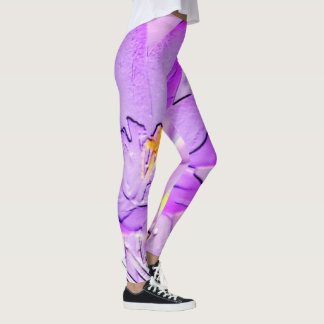 Embossed Purple Crocus Leggings