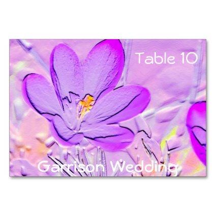Embossed Purple Crocus Table Cards