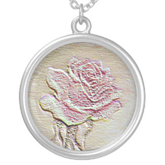 Embossed Rose Round Pendant Necklace
