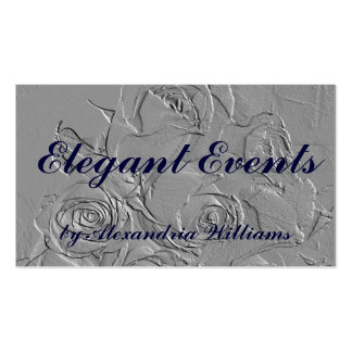 """""""Embossed Roses in Gray"""" Business Card Template"""