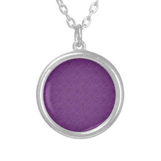Embossed Roses Lavender Purple Round Necklace