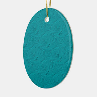 Embossed Roses Teal OVAL ORNAMENT