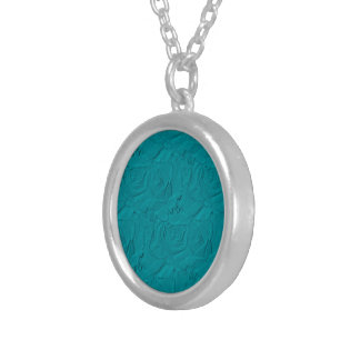 Embossed Roses TEAL Silver Plated Necklace