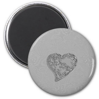 EMBOSSED SILVER DROPLET HEART 2 INCH ROUND MAGNET