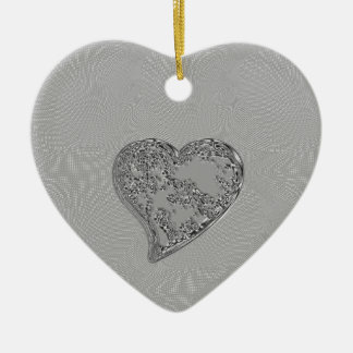 EMBOSSED SILVER DROPLET HEART CERAMIC ORNAMENT