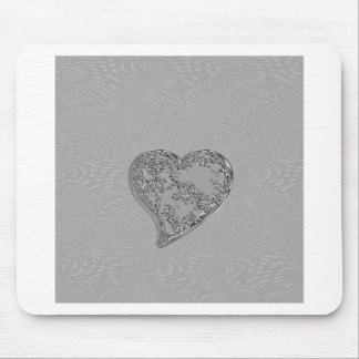 EMBOSSED SILVER DROPLET HEART MOUSE PAD
