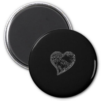 EMBOSSED SILVER DROPLET HEART ON BLACK 2 INCH ROUND MAGNET