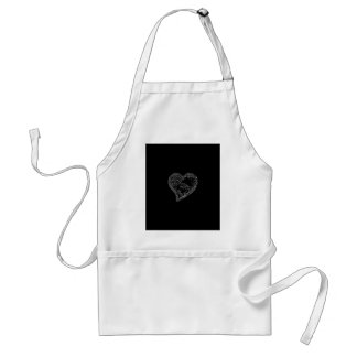 EMBOSSED SILVER DROPLET HEART ON BLACK ADULT APRON