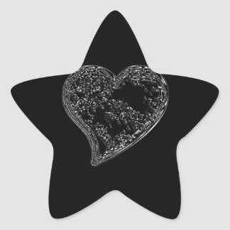 EMBOSSED SILVER DROPLET HEART ON BLACK STAR STICKER