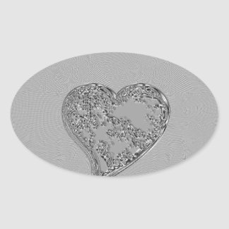 EMBOSSED SILVER DROPLET HEART OVAL STICKER