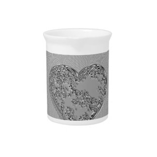 EMBOSSED SILVER DROPLET HEART PITCHER