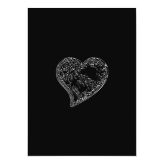 EMBOSSED SILVER HEARTS ON BLACK CARD