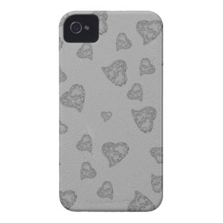 Embossed Silver Mini Hearts iPhone 4 Case-Mate Case