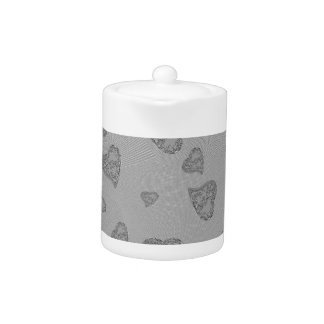 Embossed Silver Mini Hearts Teapot