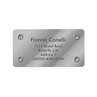 Embossed Silver Steel Plate Address Label Template