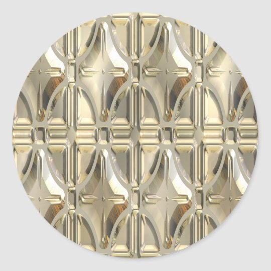 Embossed Silvery Gold Classic Round Sticker