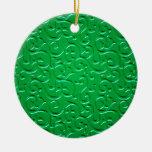 Embossed Swirls 4 Christmas Tree Ornaments