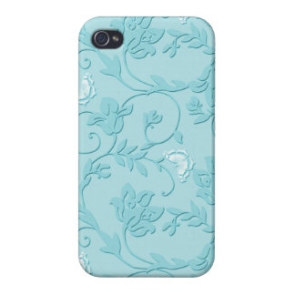 Embossed Swirls and Butterflies - Sky Blue iPhone 4/4S Cases