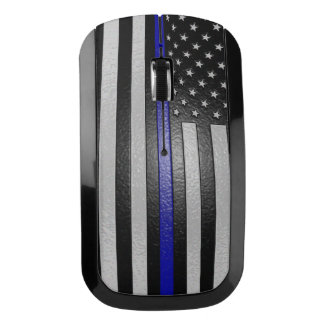 Embossed Thin Blue Line Flag Wireless Mouse