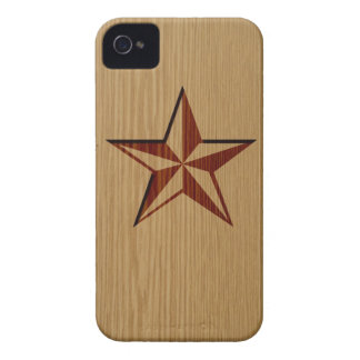 Embossed Wood Nautical Star iPhone 4/4S Case