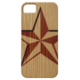Embossed Wood Nautical Star iPhone 5 Case