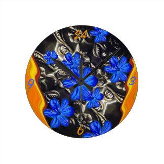 Embossing Art Blue Blossom Wall Clock