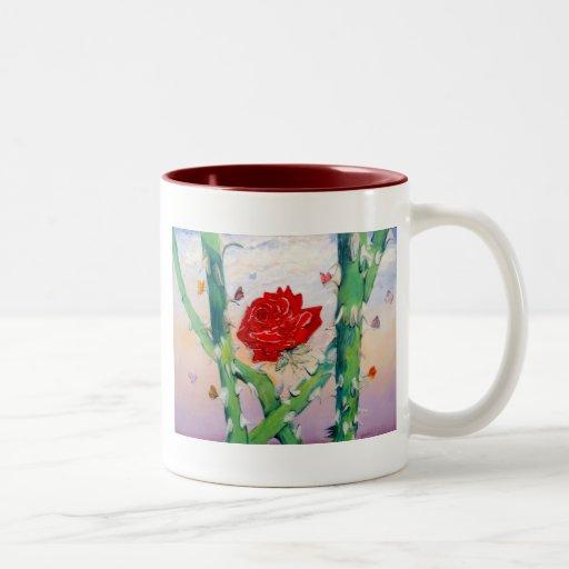 Embotar los filos de la realidad taza de café de dos colores