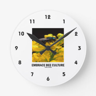 Embrace Bee Culture (Bee On Barberry Flower) Round Clock