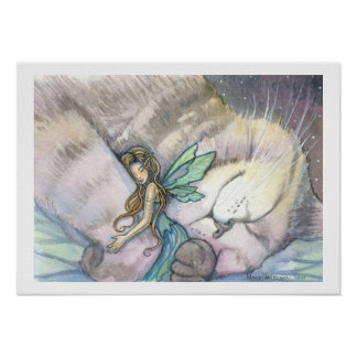 Embrace Cat and Fairy Poster
