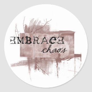 embrace chaos classic round sticker
