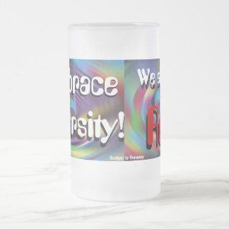 Embrace Diversity Mug! Frosted Glass Beer Mug