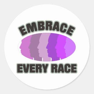 Embrace Every Race Classic Round Sticker